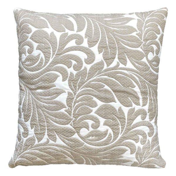 Cuscino in tessuto trapuntato con motivo floreale
