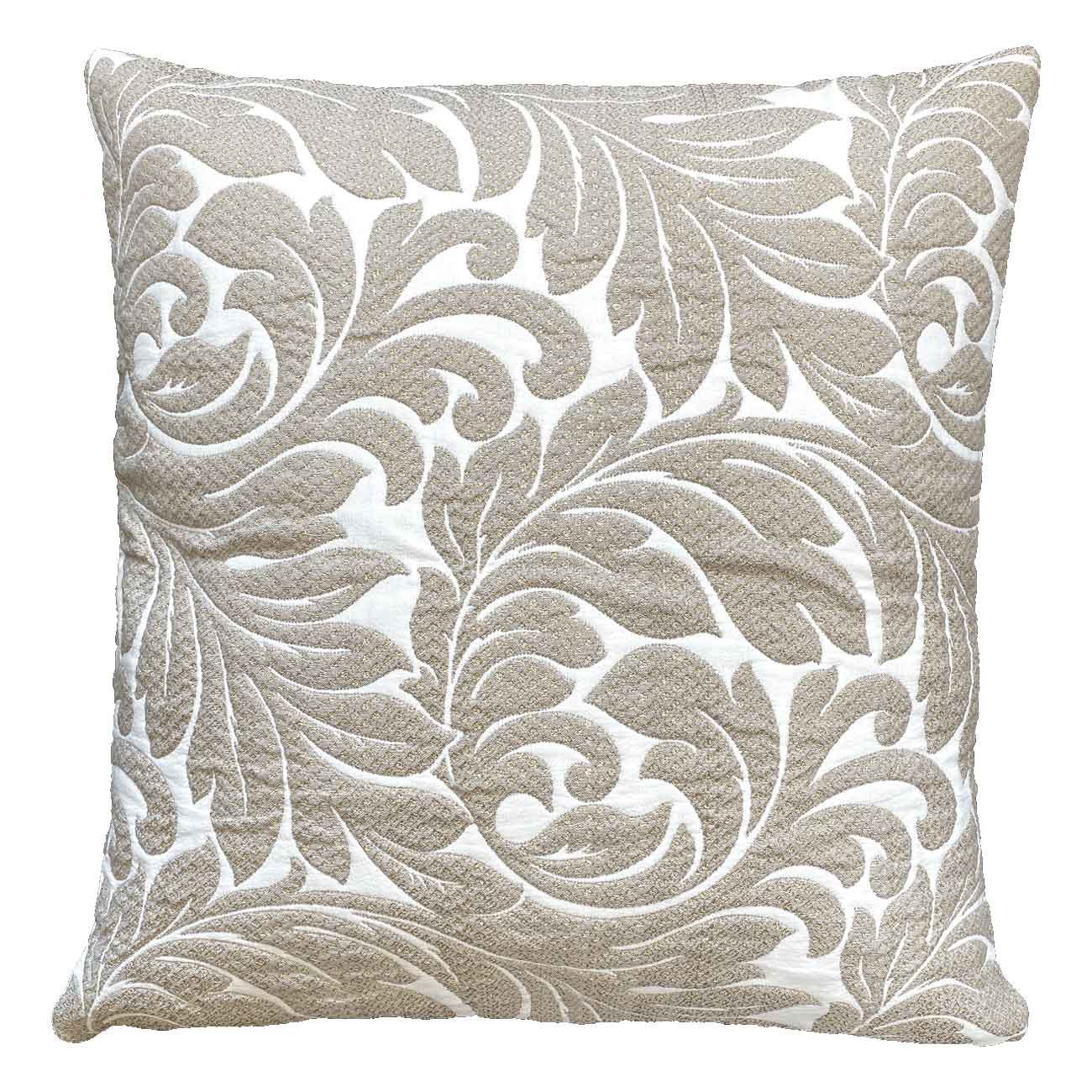 Quilted fabric pillow with floral pattern