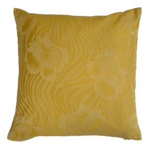 Cuscino in tessuto con motivo floreale oro